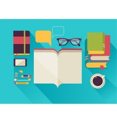 reading books desktop set flat icons vector image