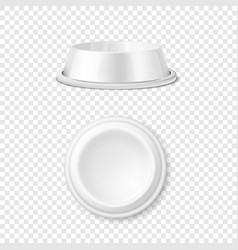Realistic white blank plastic or metal pet vector
