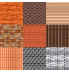 Roof tiles and roof texture set vector image
