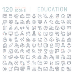 set line icons education vector image