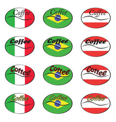 Set of coffee logos with flags of italy brazil vector