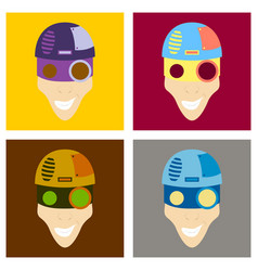 Set of friendly robot character with flat cartoon vector