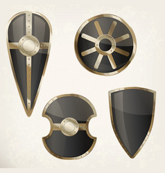 Set of isolated shields icons or heraldic sign vector