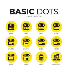 shop flat icons set vector image vector image