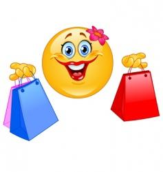 shopping emoticon vector image