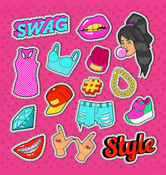 swag style teenage fashion stickers badges vector image