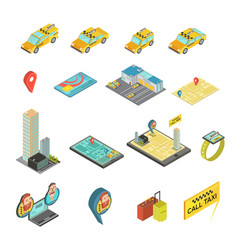 Taxi and gadgets isometric set vector