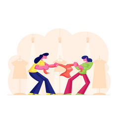 Two greedy girls fighting for red jacket vector