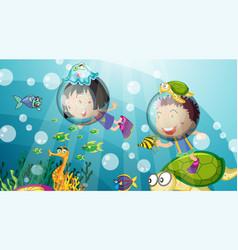 Underwater scene with happy kids scuba diving vector