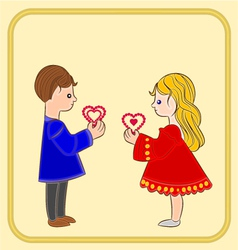 Valentines Day Cute figure Kids holding hearts vector image