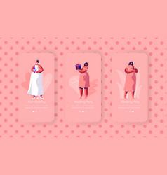 Wedding preparation mobile app page screen set vector