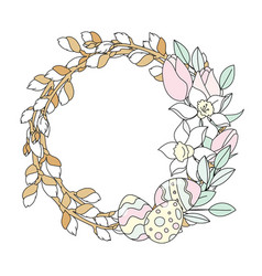 Willow wreath easter religious holiday set vector