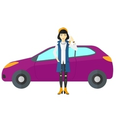 Woman holding key from new car vector