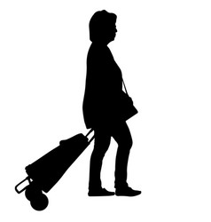 woman silhouette with luggage vector image
