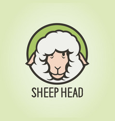 woolly sheep head funny cartoon character icon vector image