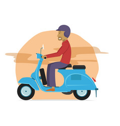 young guy riding classic scooter motorcycle vector image