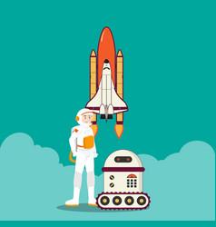 astronaut rocket and intelligent robot design vector image vector image