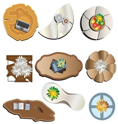 Coffee table top view set 3 vector image vector image