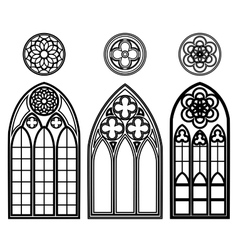 Gothic windows of cathedrals vector