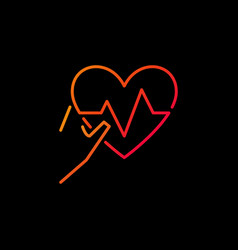 hand holding heartbeat colored line icon vector image