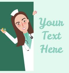 medical staff nurse say hello holding medicine vector image