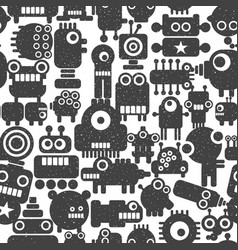 seamless pattern with techno monsters and robots vector image vector image