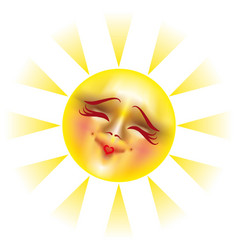 sun with happy smile vector image vector image