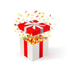 white gift box with red cover and gold confetti vector image vector image