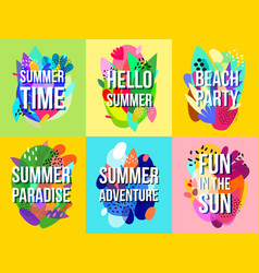 bright abstract summer sale banners collection vector image vector image