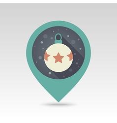 Christmas balls flat pin map icon vector image vector image