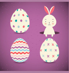 collection of easter eggs and easter bunny on vector image vector image