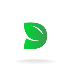 D letter logo template Green leaves nature concept vector image vector image