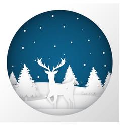 deer standing in a snow field in christmas night vector image vector image