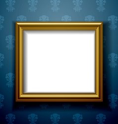 Gold frame on wall vector image vector image