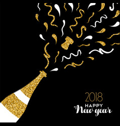 happy new year 2018 gold glitter party drink card vector image vector image