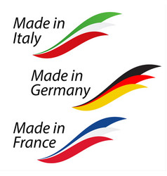 simple logos made in italy made in germany vector image vector image