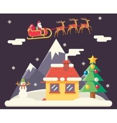 Sky Flying Sleigh Cristmas New Year House vector image