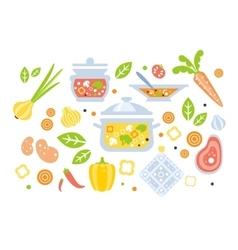 Soup Preparation Set Of Ingredients vector image vector image