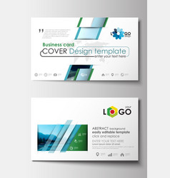 business card templates flat design blue color vector image vector image