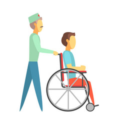 male doctor pushing disabled man sitting on vector image