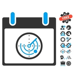 Radar Calendar Day Icon With Bonus vector image