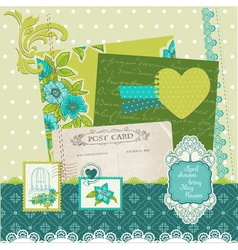 Scrapbook Design Elements - Blue Flowers vector image