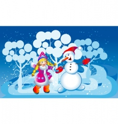 snowball and the snow maiden vector image vector image