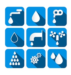 Water Buttons - Symbols - Icons Set vector image