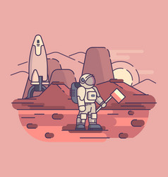 astronaut on surface of planet vector image