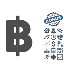 Baht Flat Icon With Bonus vector image vector image