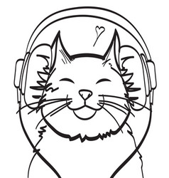 cool art of cat with headphone music vector image
