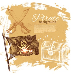 Pirate vintage hand drawn background vector image vector image