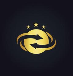 round circle arrow star gold logo vector image vector image