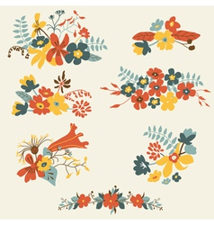Set of seven cute floral bouquets bunch vector image vector image